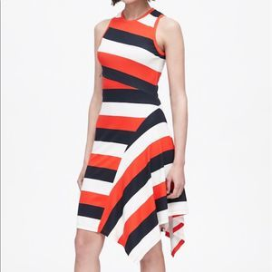Banana Republic Striped Asymmetrical Knit Dress